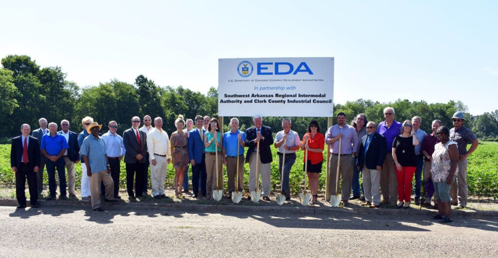 Group photo at the Clark County Industrial Park Rail Spur Groundbreaking in June, 2018.